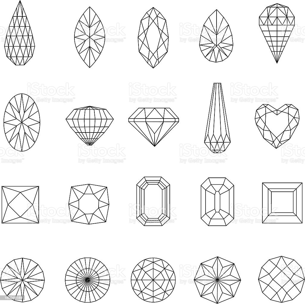 Diamond design elements vector art illustration