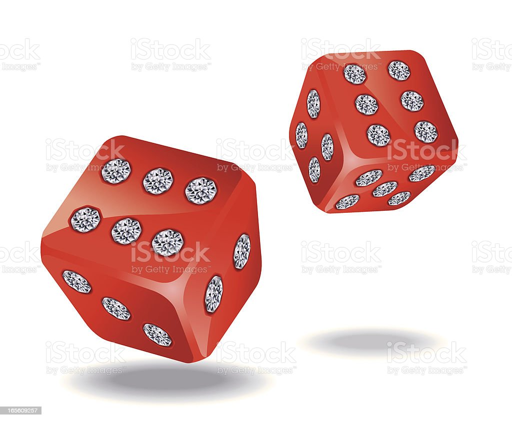 Diamond Encrusted Red Dices Vector vector art illustration