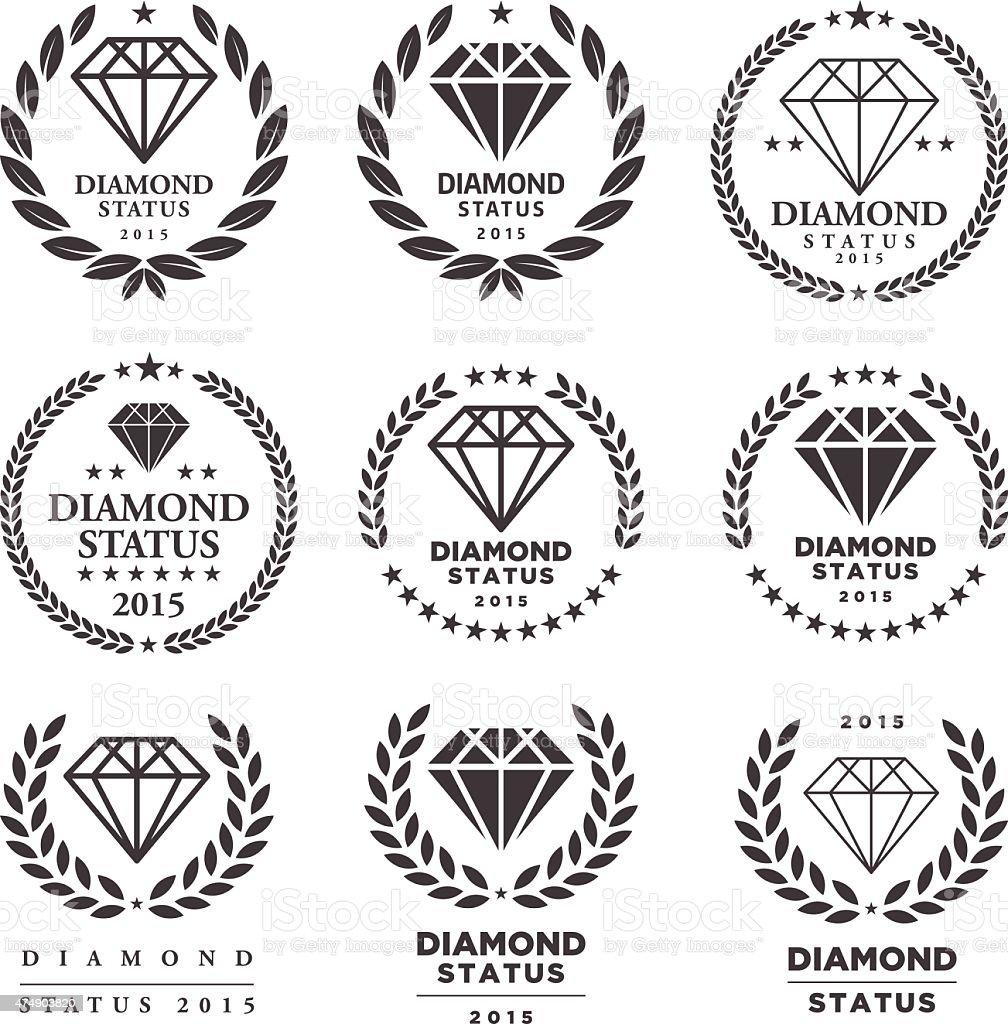 Diamond Endorsement Emblem Set vector art illustration