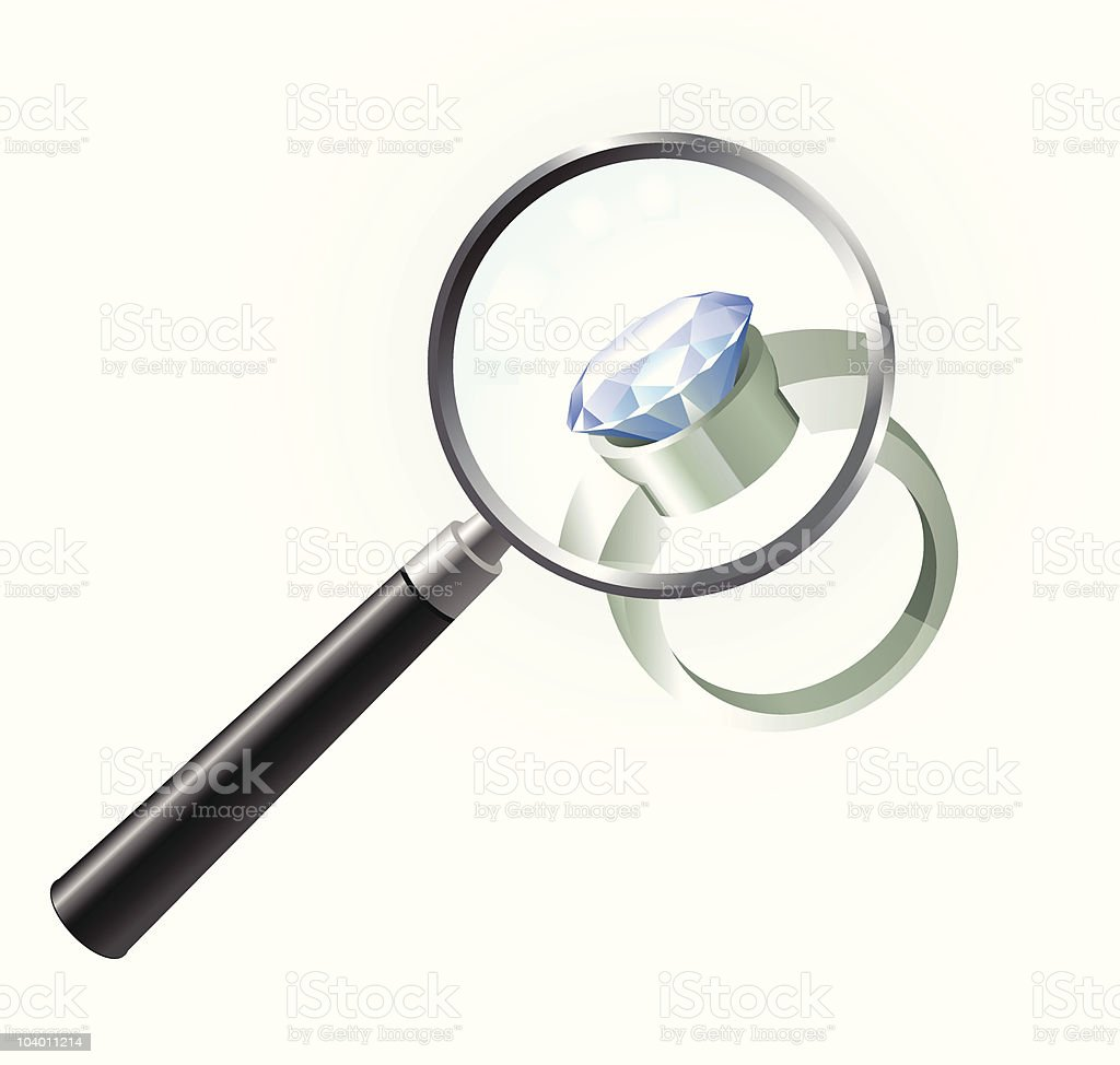 Diamond Engagement Ring under magnifying glass royalty-free stock vector art