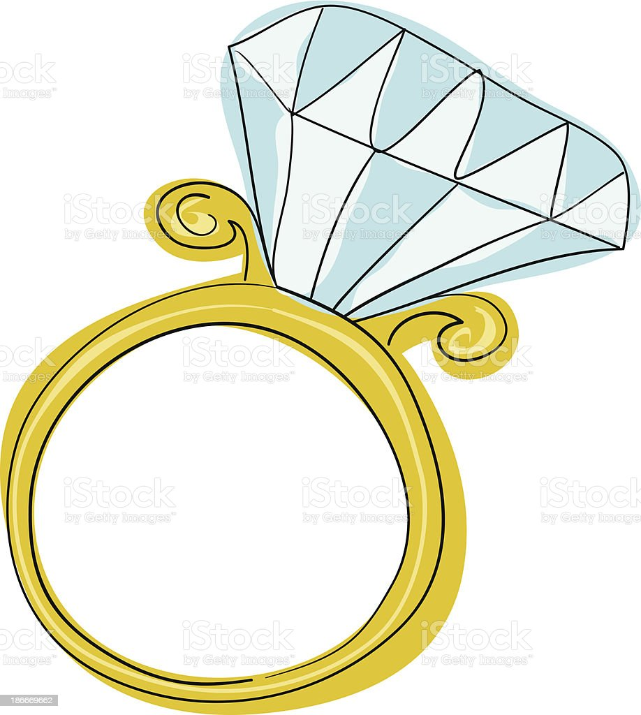 Diamond Engagement Ring vector art illustration