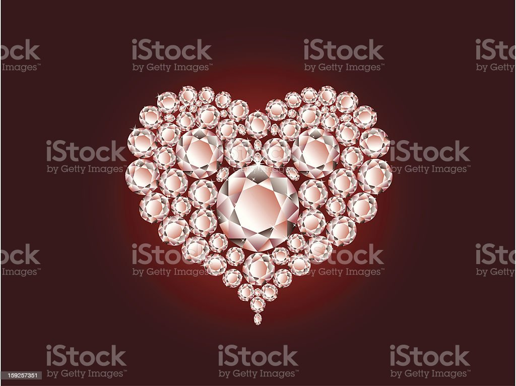 Diamond heart on red background royalty-free stock vector art