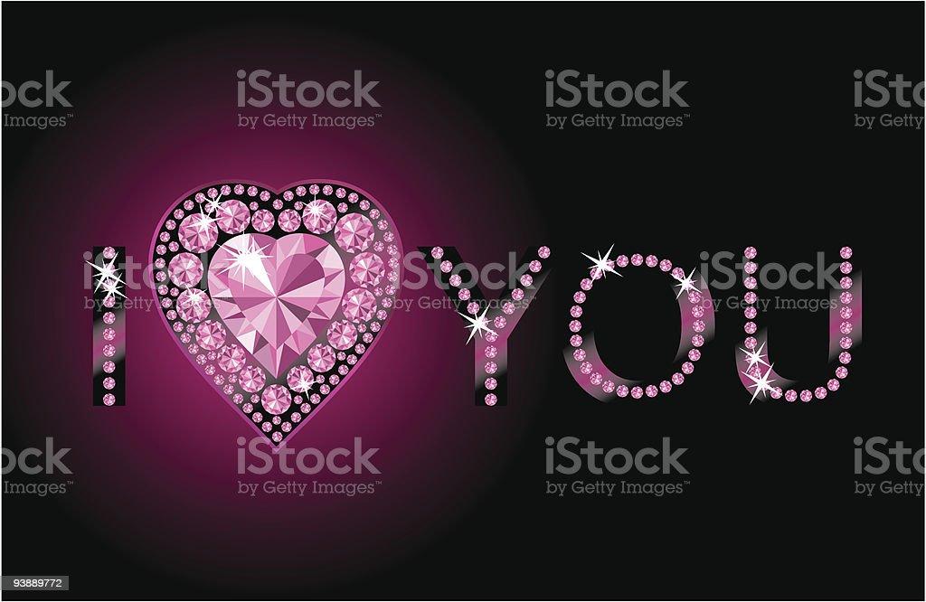 I LOVE YOU / Diamond heart / vector royalty-free stock vector art