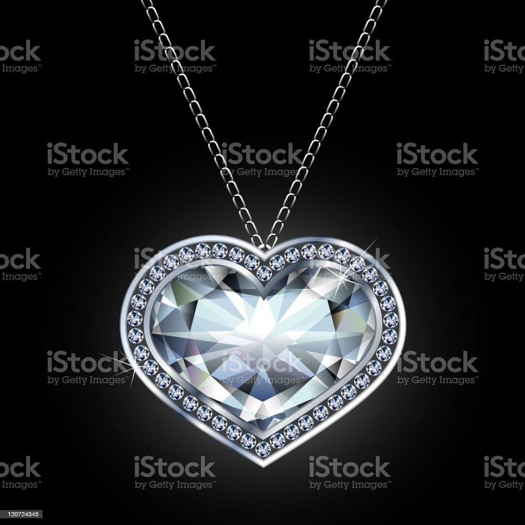 Diamond heart-shaped pendant royalty-free stock vector art