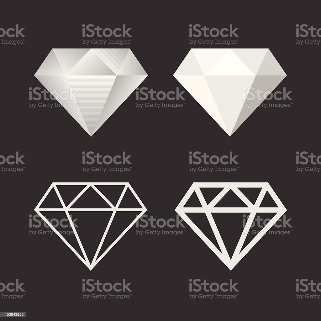 Diamond Icon And Emblem Set. Vector vector art illustration
