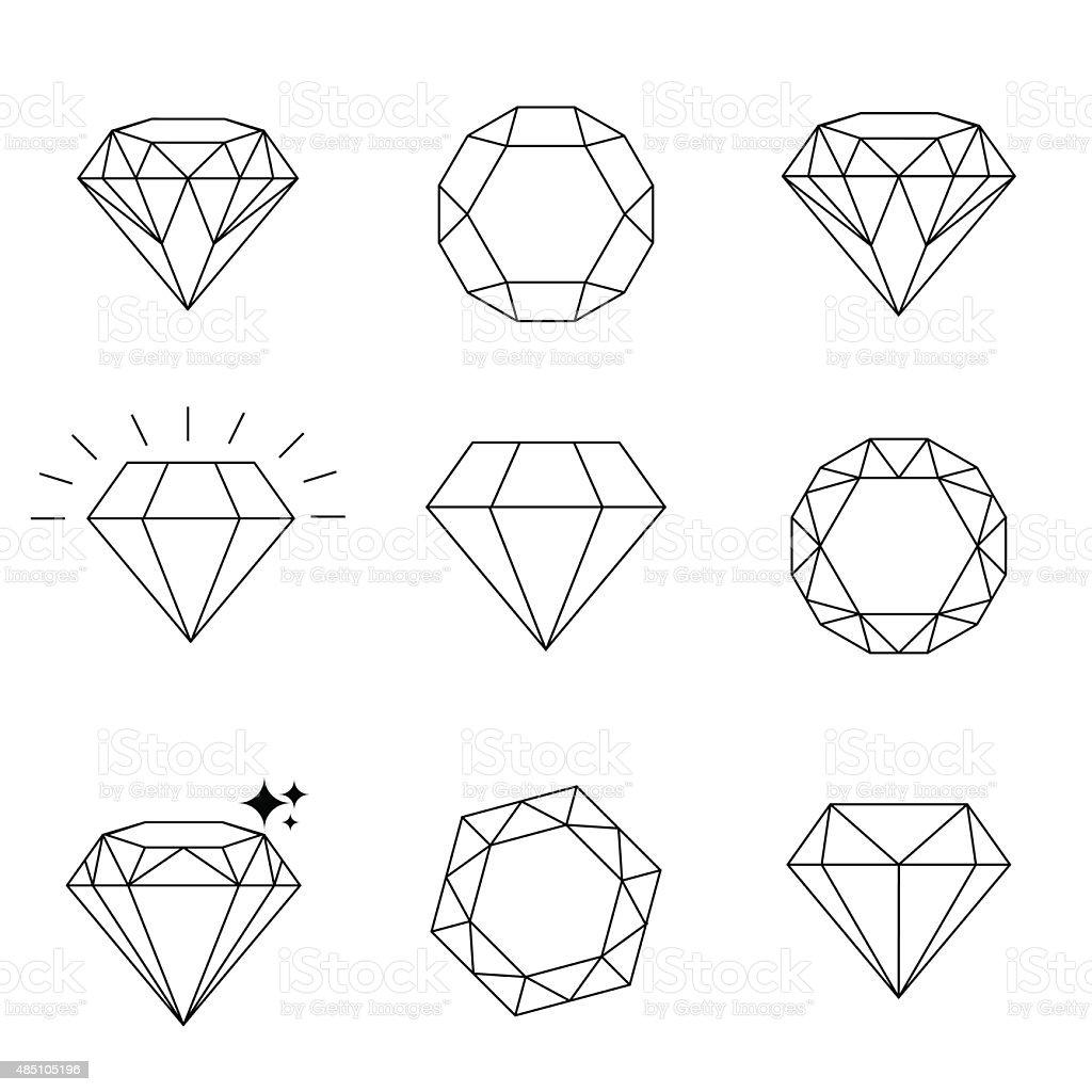 Diamond  icons set, design vector art illustration