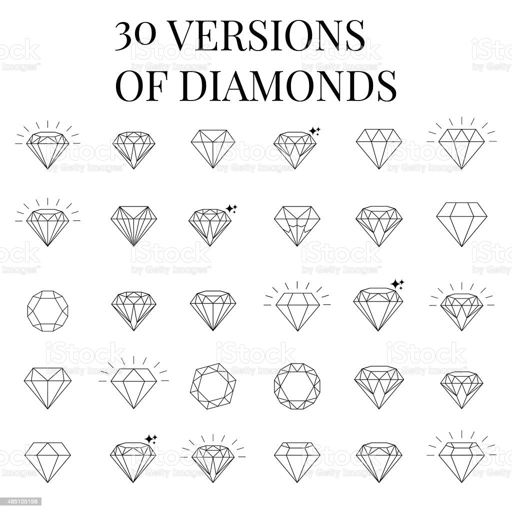 Diamond  icons set, design vector art illustration
