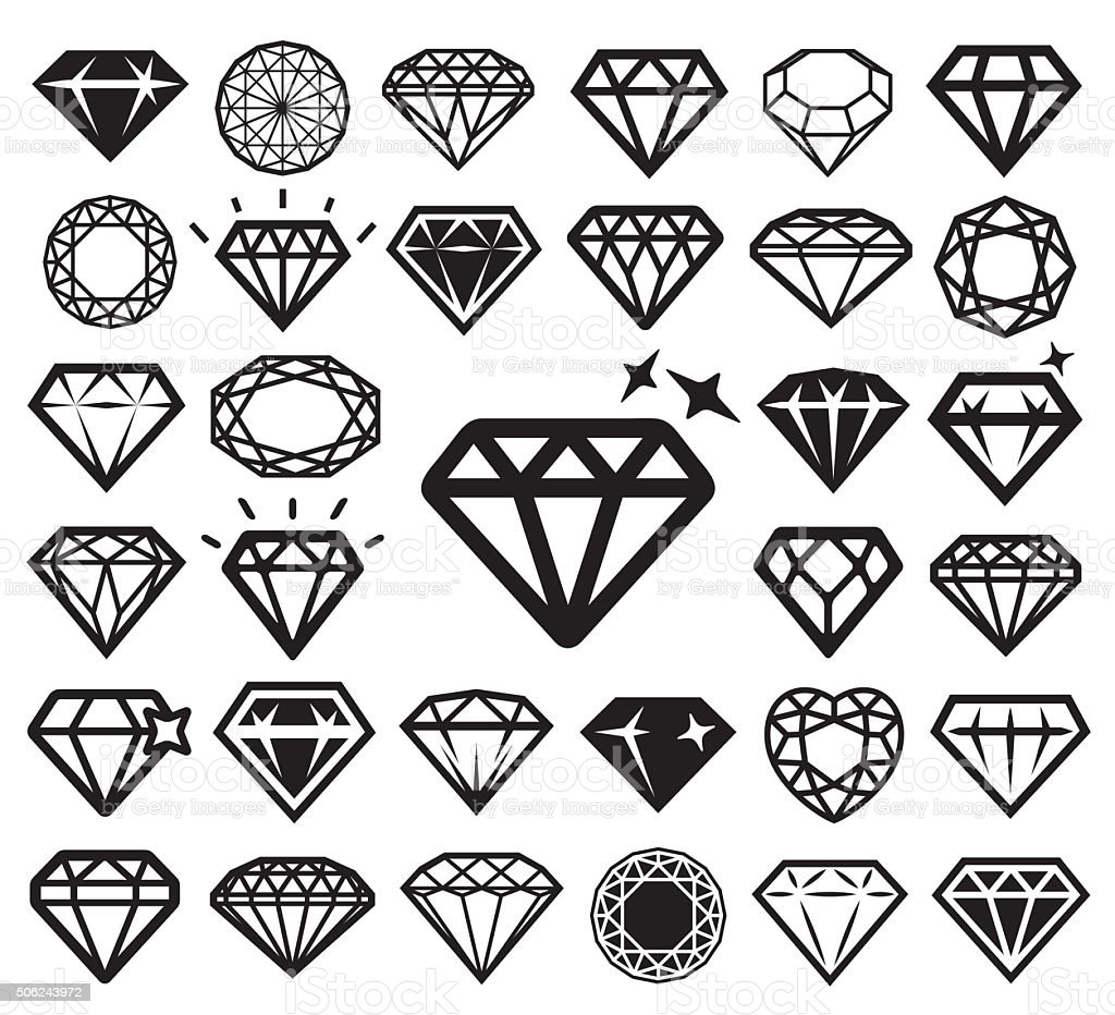 Diamond icons set. Vector illustration. vector art illustration