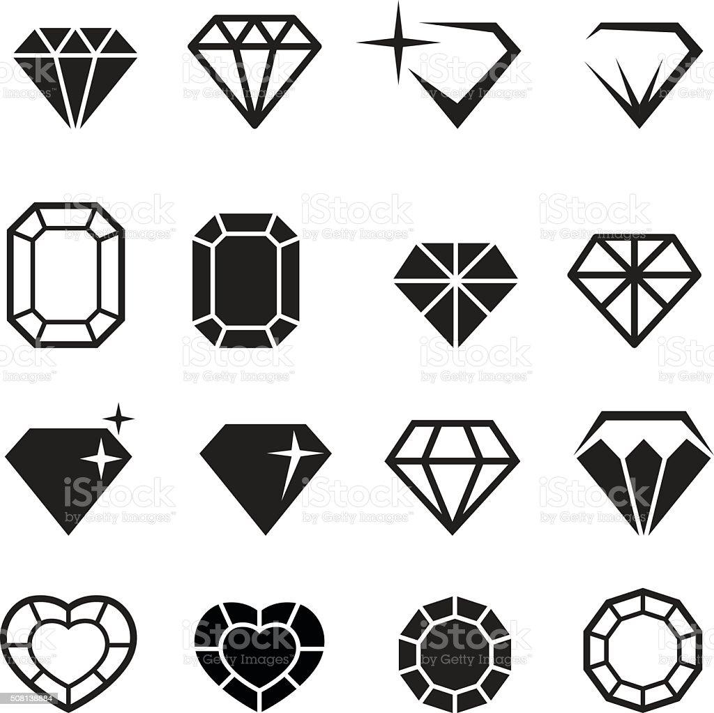 Diamond icons set vector vector art illustration