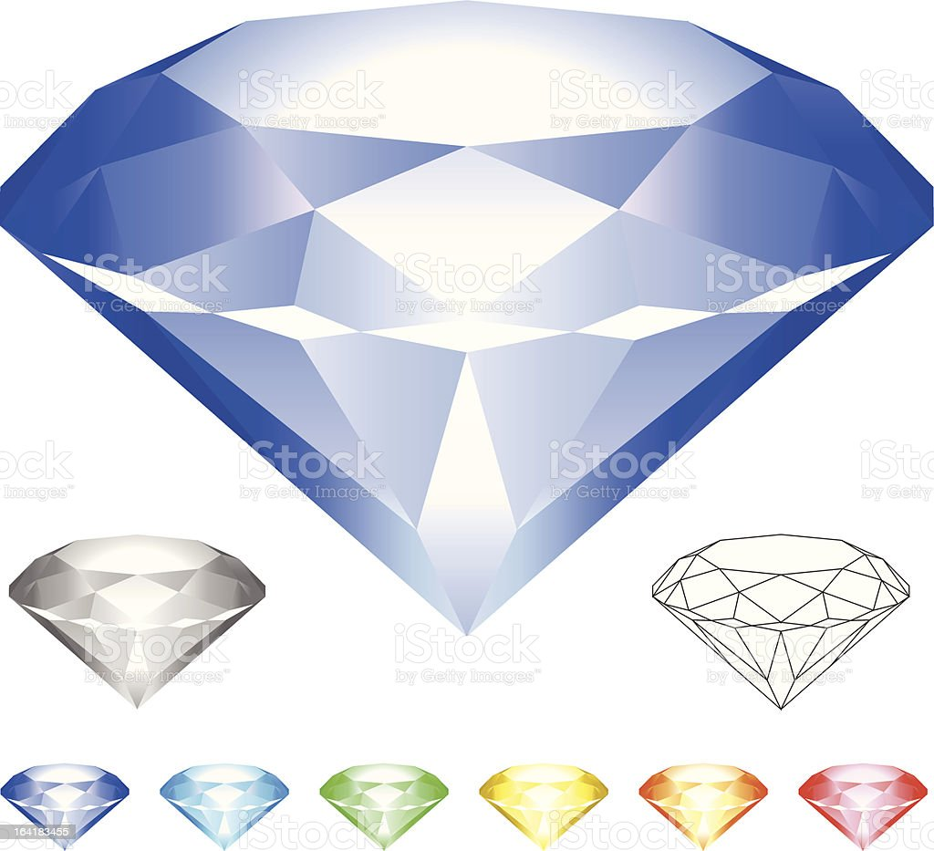Diamond in 7 colors royalty-free stock vector art