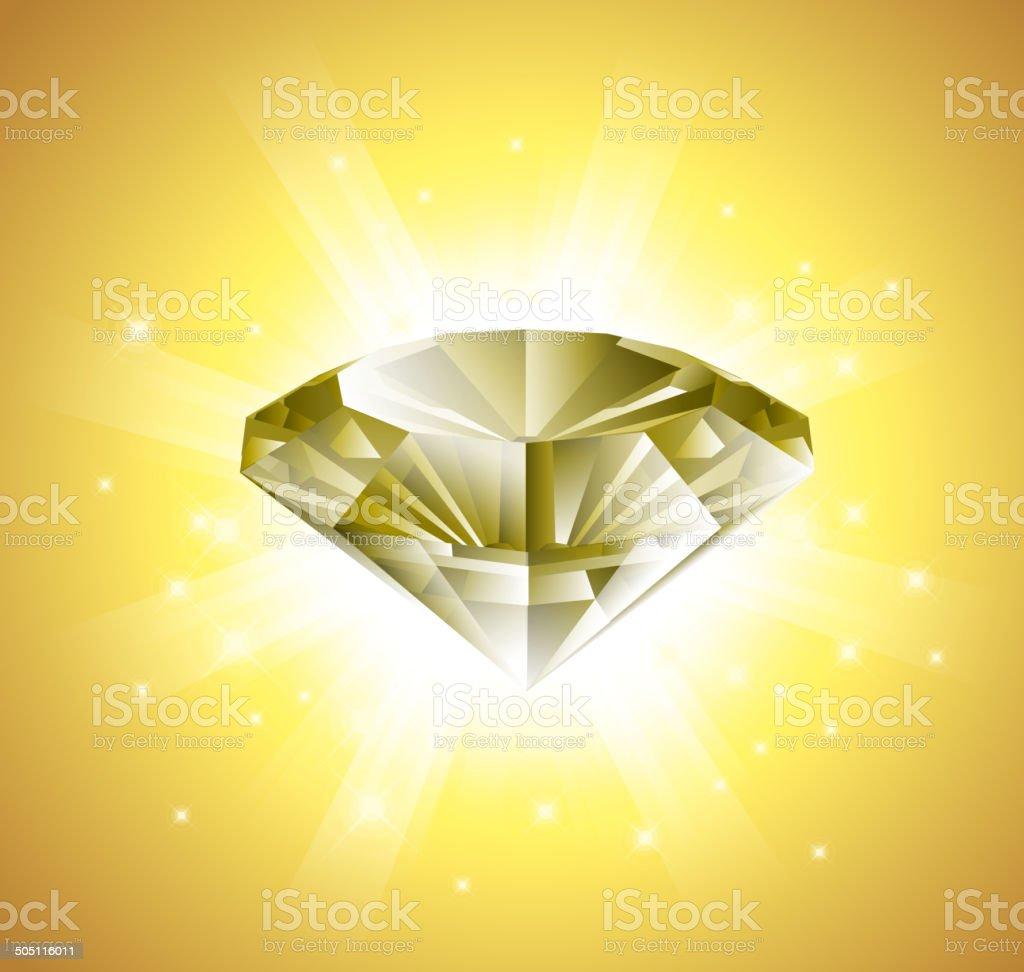 Diamond in shinny background vector art illustration