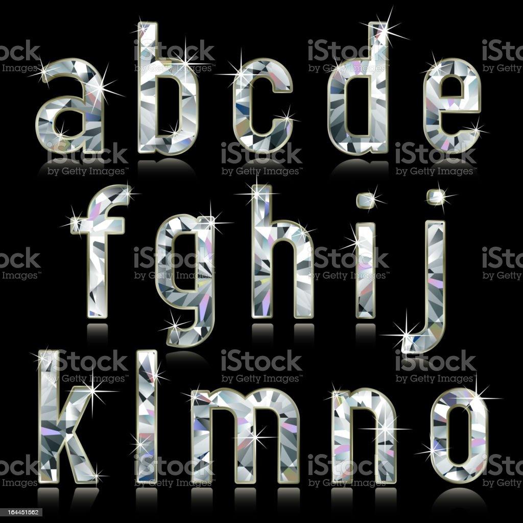 Diamond inspired alphabet letters royalty-free stock vector art
