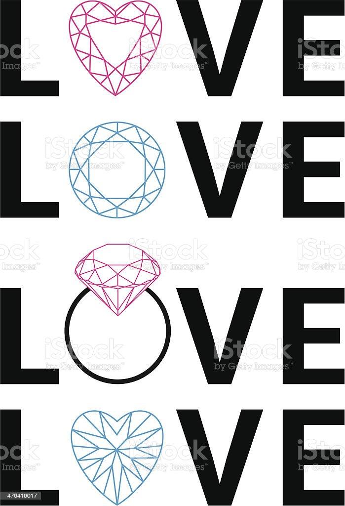 diamond love, vector royalty-free stock vector art