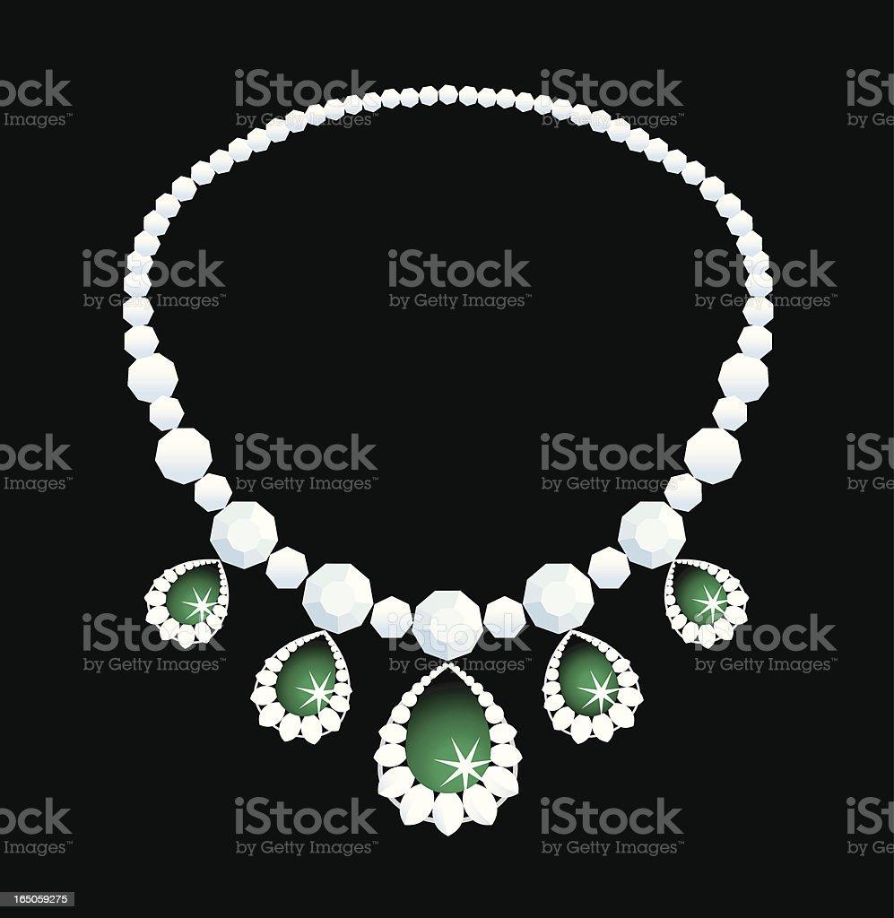 Diamond necklace vector art illustration