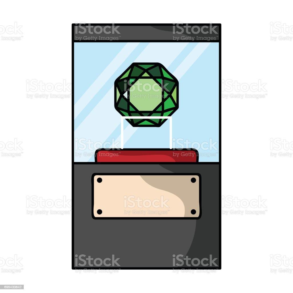 Diamond on a pedestal icon in cartoon style isolated on white background. Museum symbol stock vector illustration. vector art illustration
