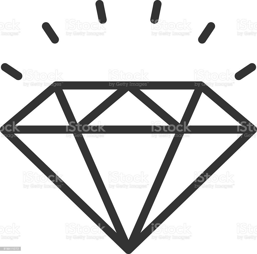 Diamond outline icon vector art illustration