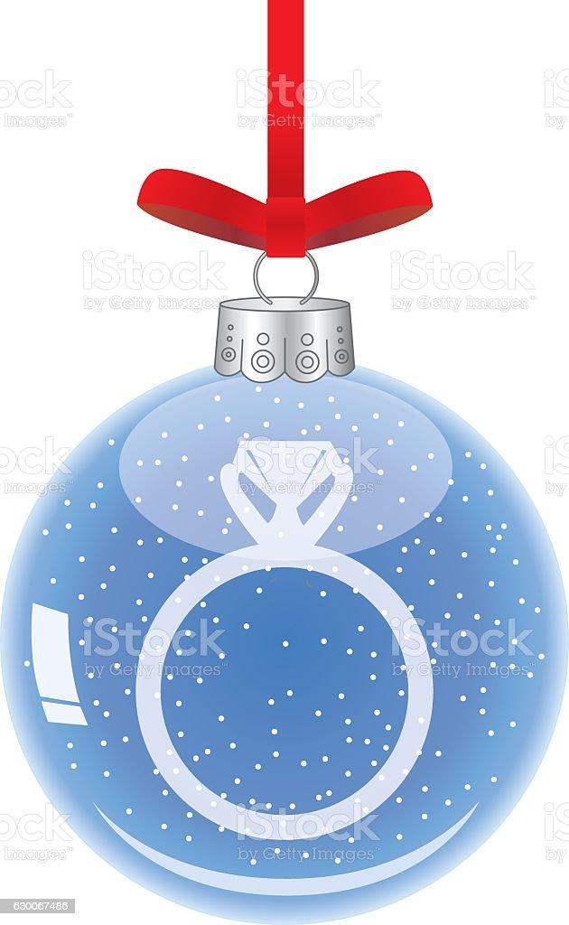 Diamond Ring Glass Christmas Ornament vector art illustration