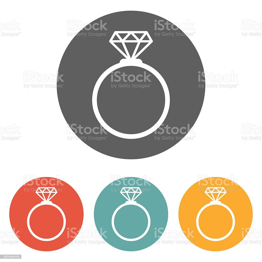 diamond ring icon vector art illustration
