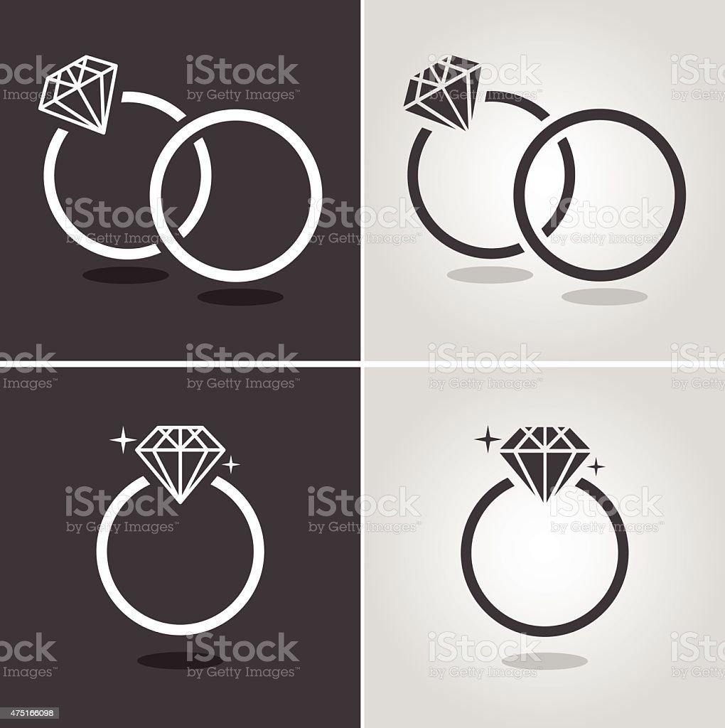 Diamond Ring Symbol vector art illustration