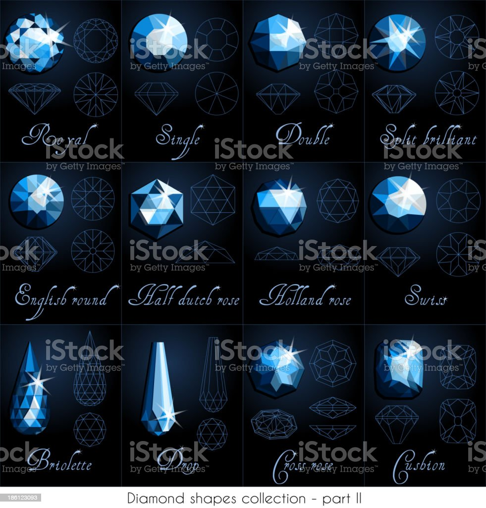 Diamond shapes collection - part 2 royalty-free stock vector art