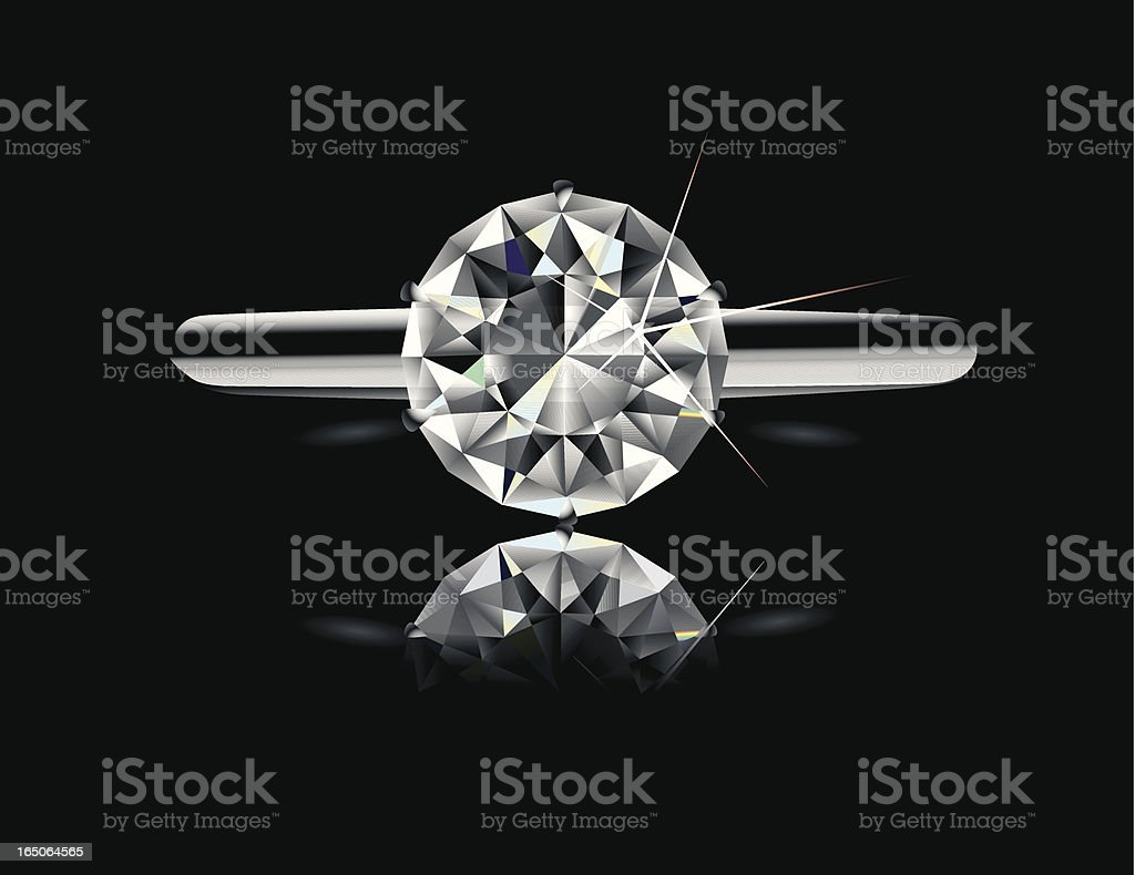 Diamond Solitaire Engagement Ring vector art illustration