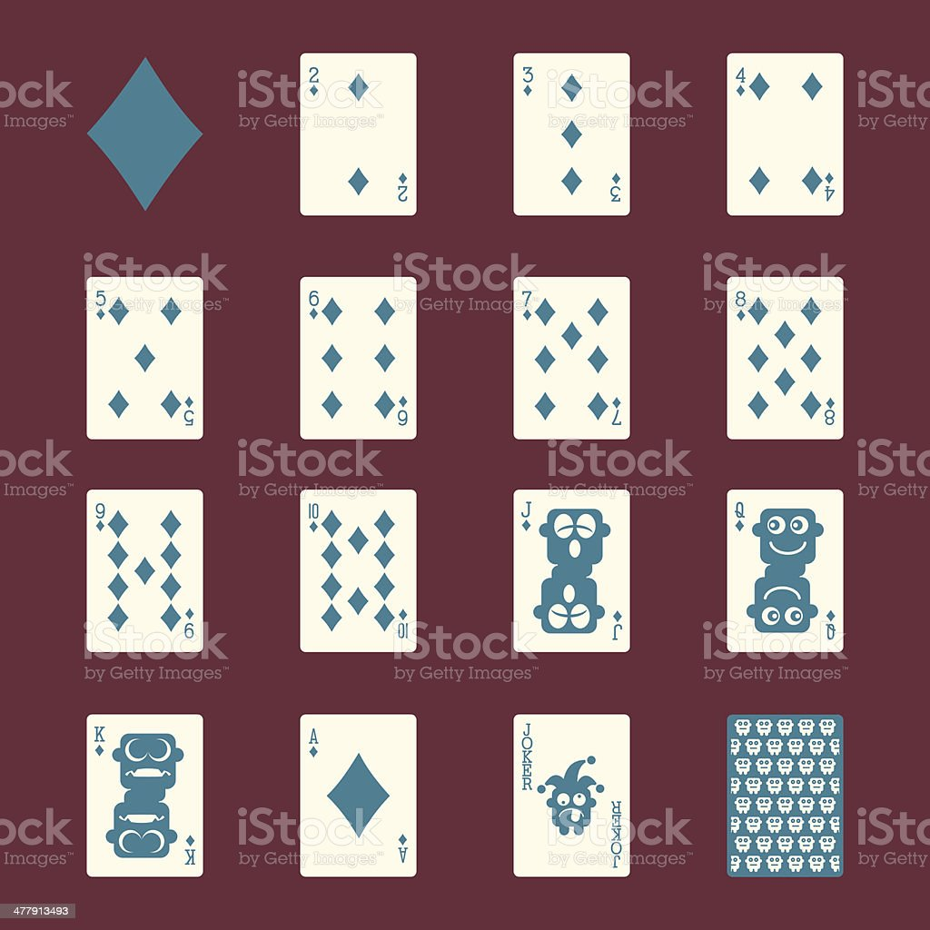 Diamond Suit Playing Card Icons - Color Series | EPS10 royalty-free stock vector art