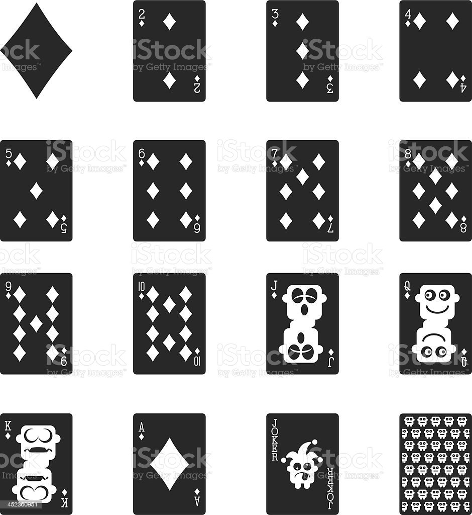 Diamond Suit Playing Card Silhouette Icons vector art illustration