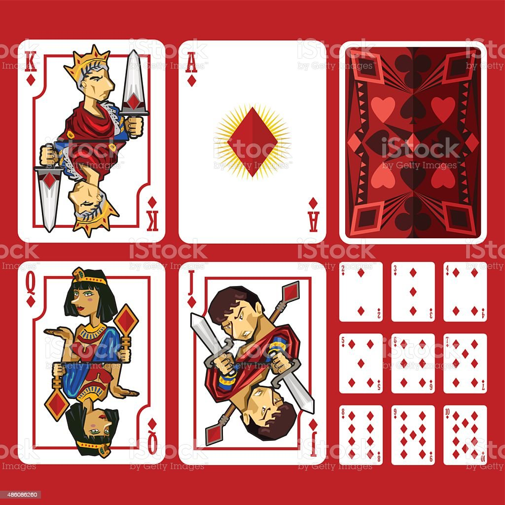 Diamond Suit Playing Cards Full Set vector art illustration