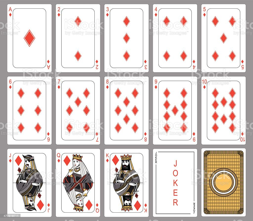 Diamond suit playing cards vector art illustration