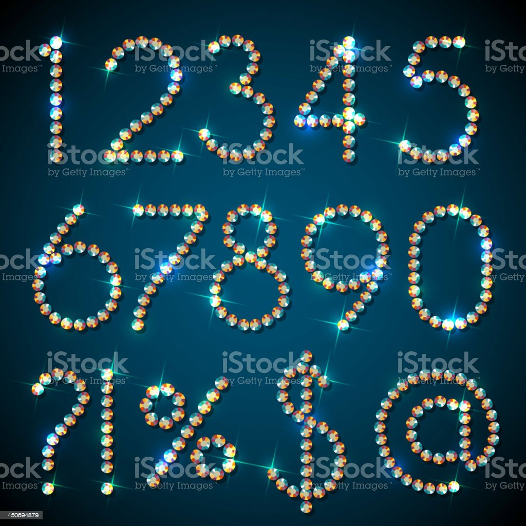 Diamond symbols and digits with sparkles royalty-free stock vector art