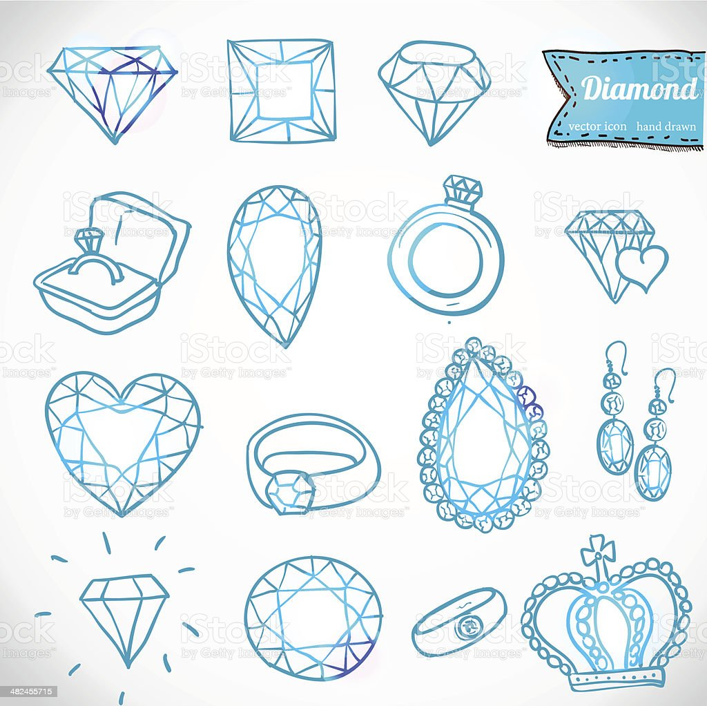 Diamond vector icons set vector art illustration
