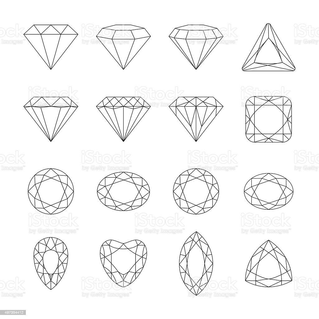 Diamond vector icons set. vector art illustration