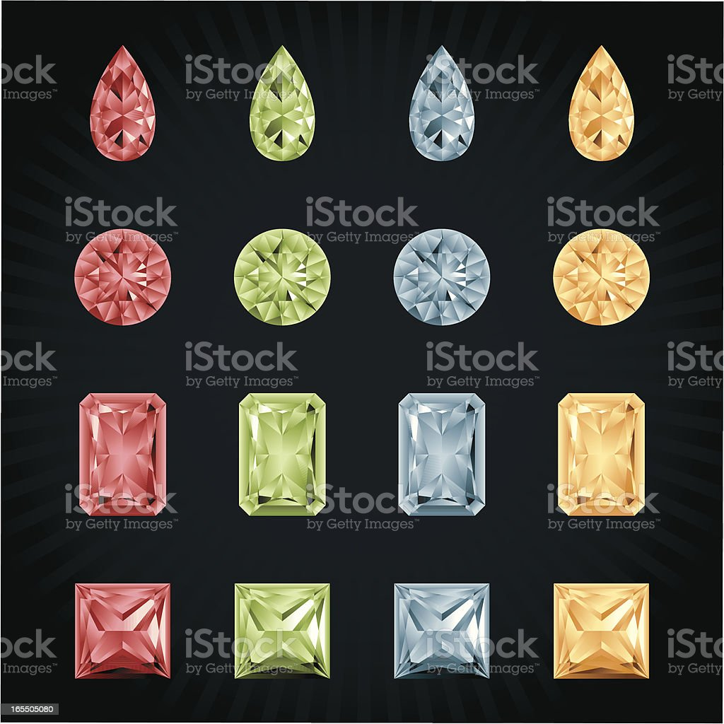 Diamonds in various shapes and colors royalty-free stock vector art