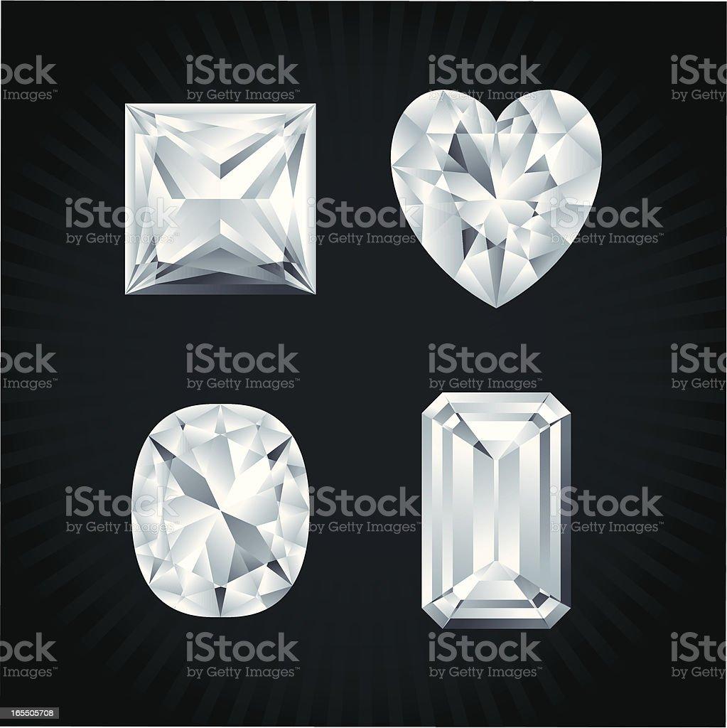 Diamonds in various shapes vector art illustration
