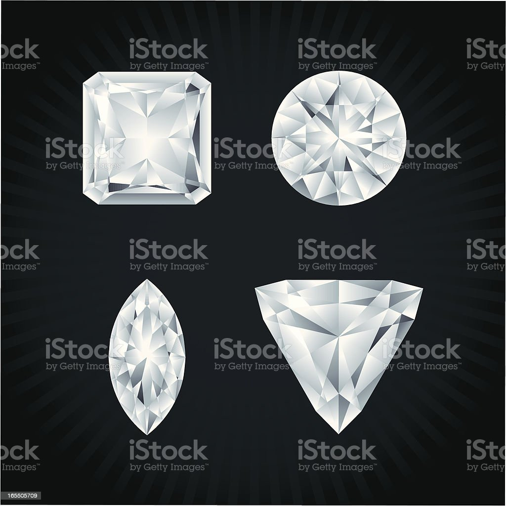Diamonds in various shapes royalty-free stock vector art