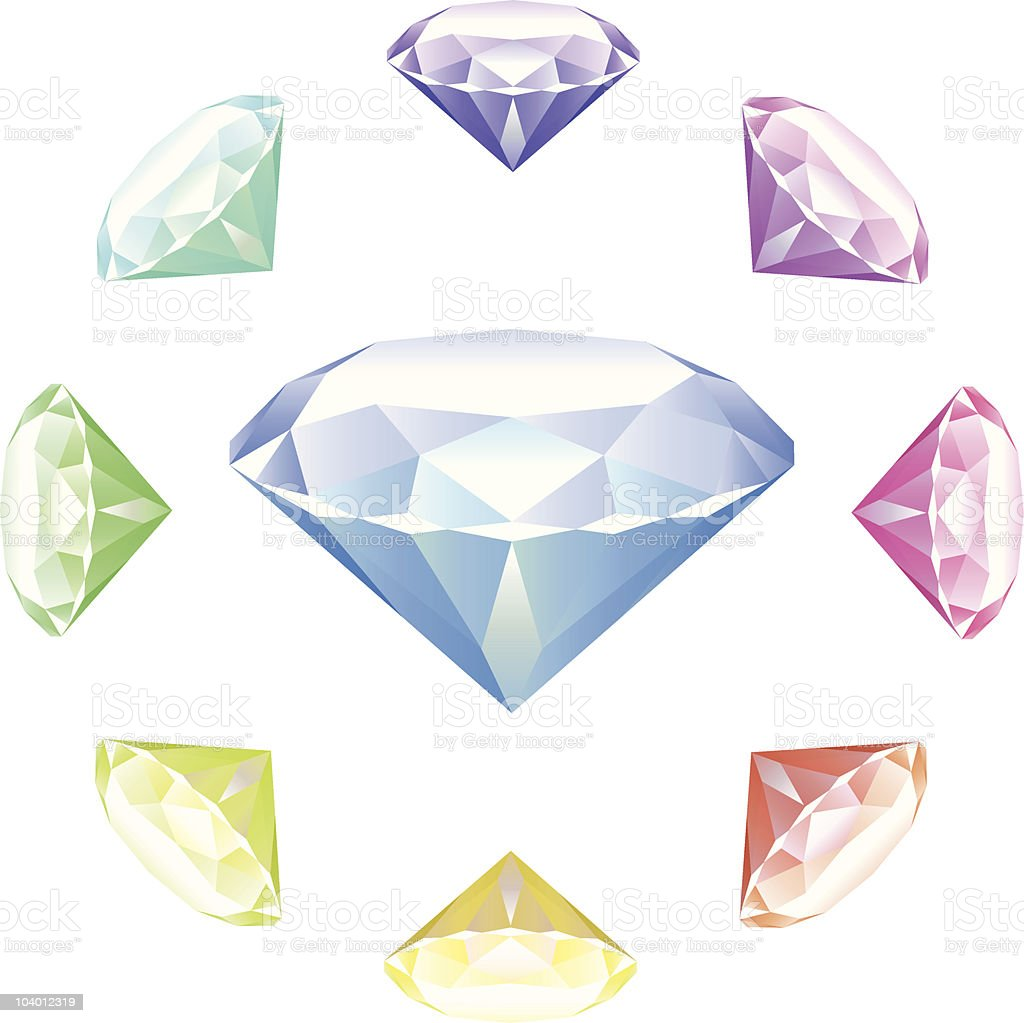 Diamonds on White background royalty-free stock vector art