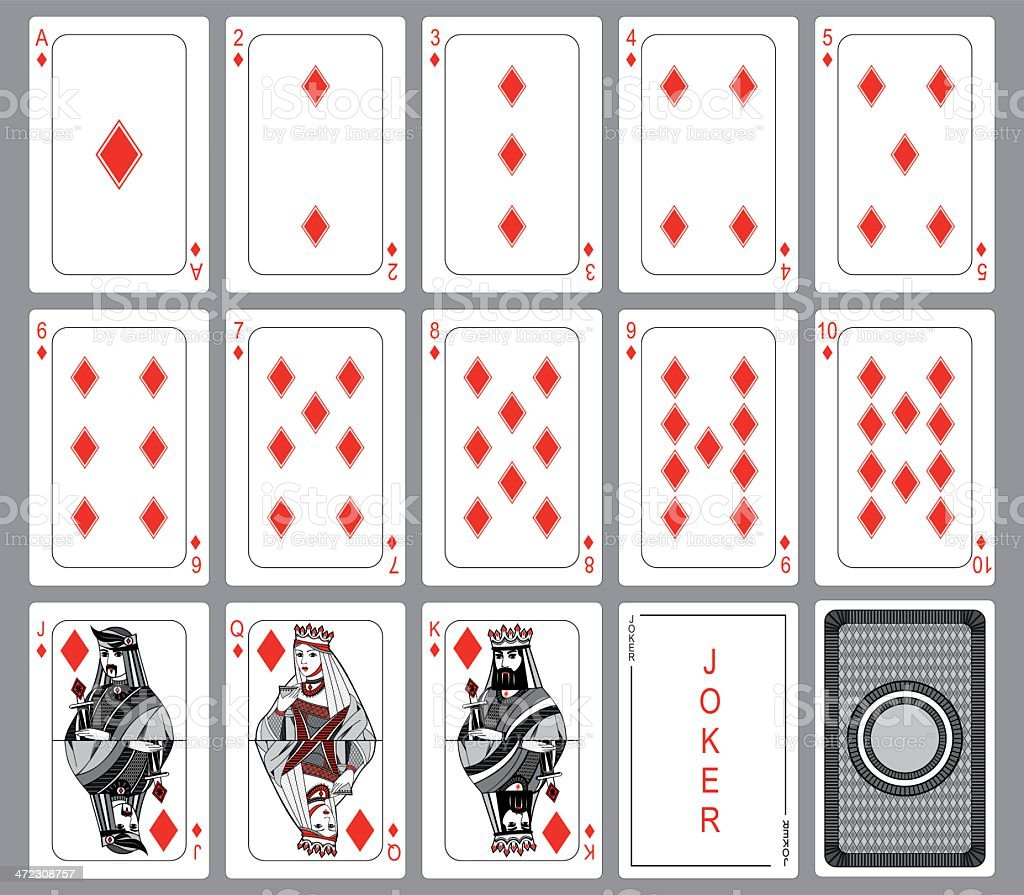 Diamonds Playing cards suit vector art illustration
