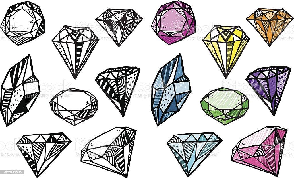 Diamonds. Set of doodle crystals. royalty-free stock vector art