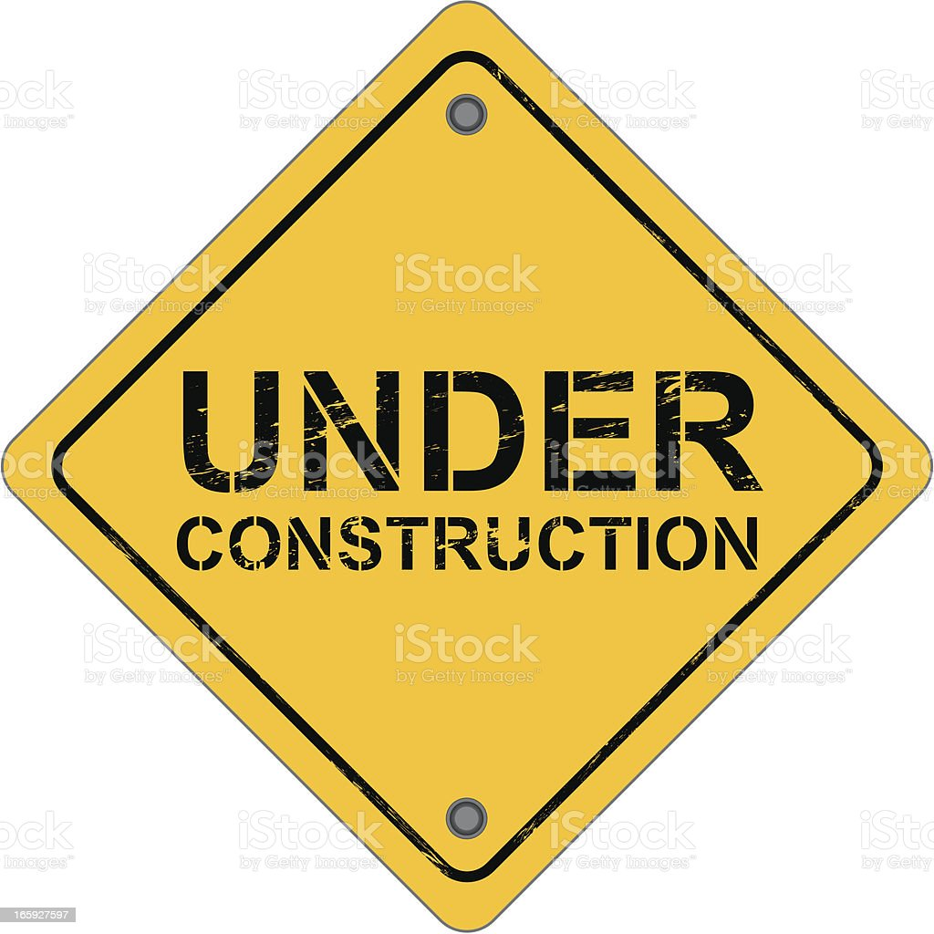 Diamond-shaped work sign that reads under construction  vector art illustration