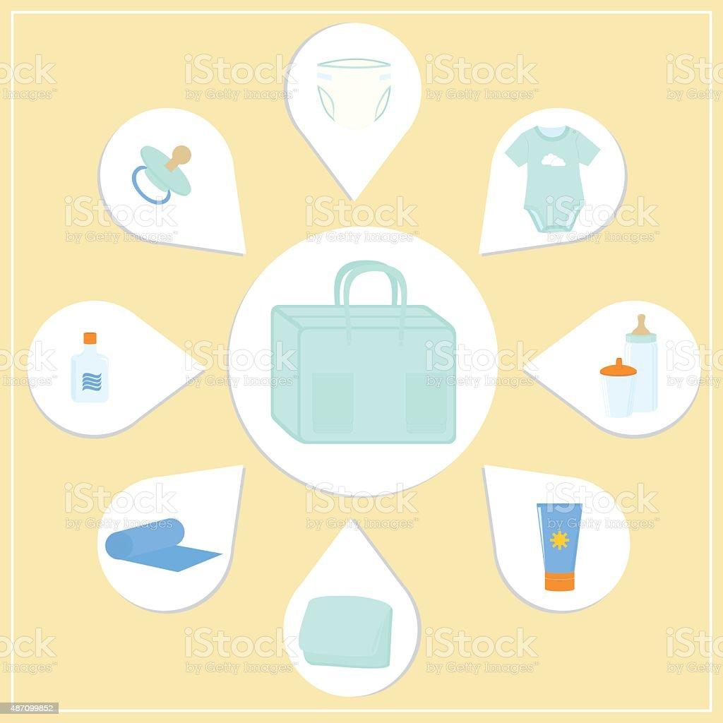 Diaper bag vector art illustration