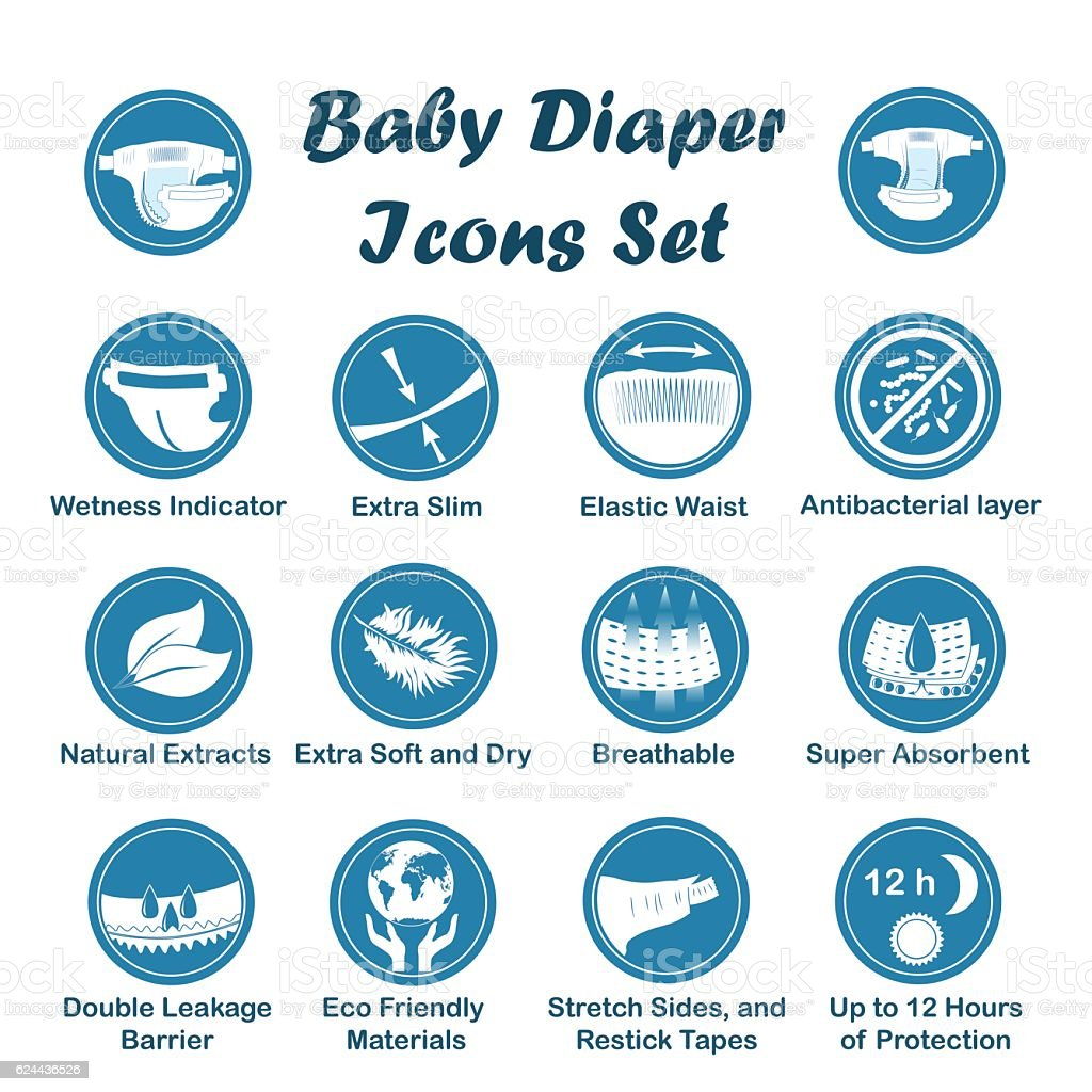 Diaper characteristics icons. Vector set vector art illustration
