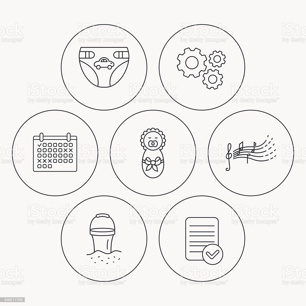 Bathroom drawing for kids - Diapers Newborn Baby And Songs For Kids Icons Royalty Free Stock Vector Art