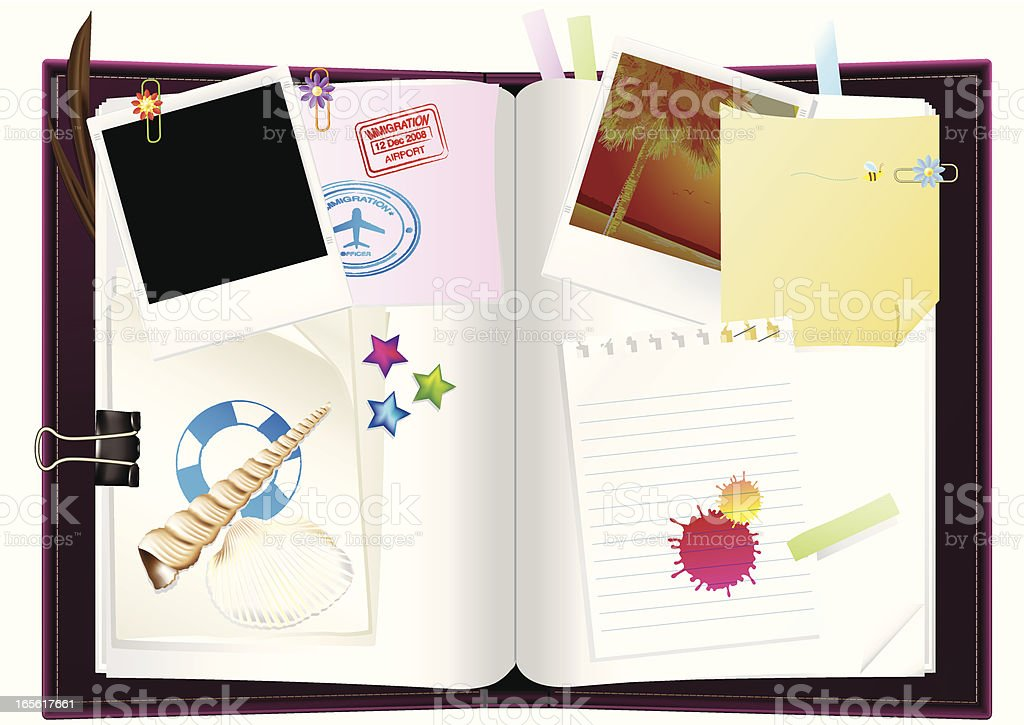 Diary or travelogue vector art illustration