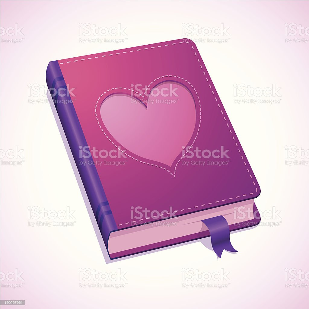 Diary with heart for Valentines Day royalty-free stock vector art