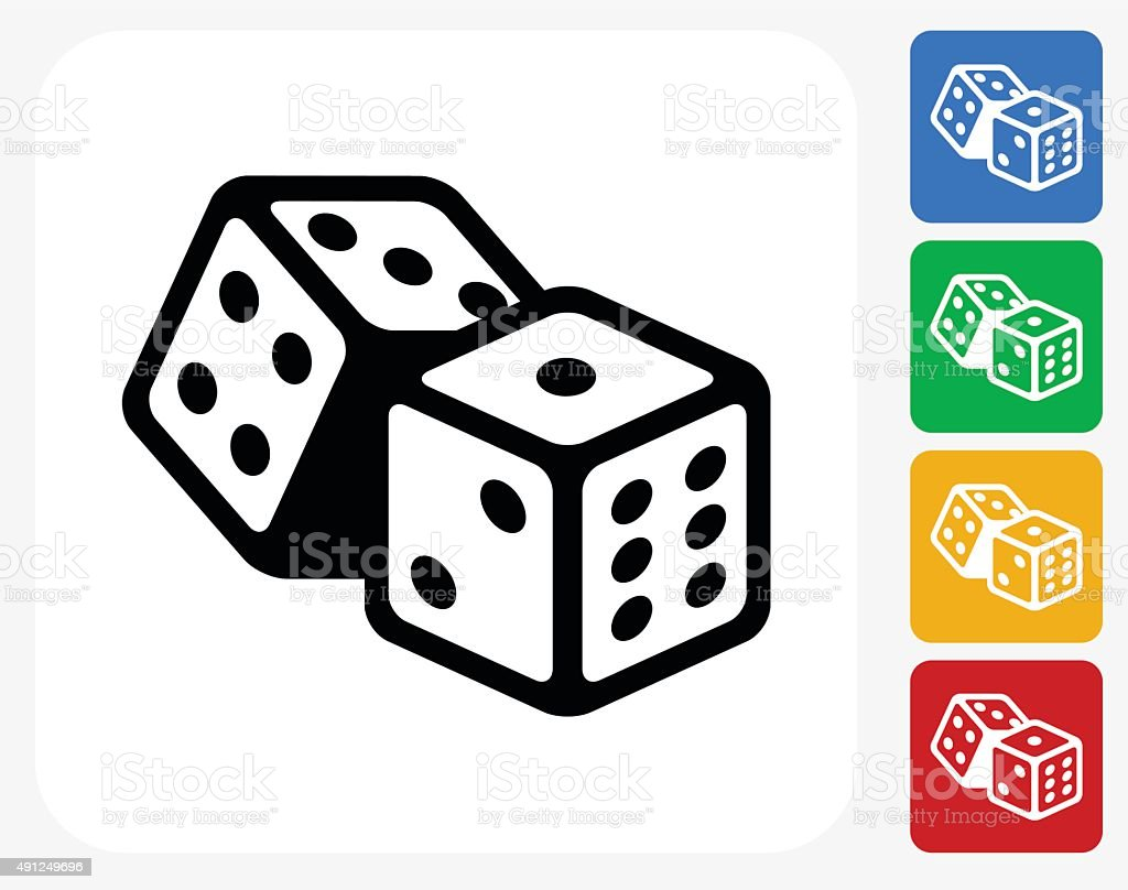 Dice Icon Flat Graphic Design vector art illustration
