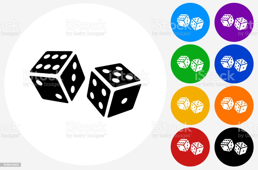 Dice Icon on Flat Color Circle Buttons vector art illustration
