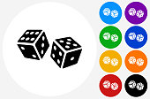 Dice Icon on Flat Color Circle Buttons