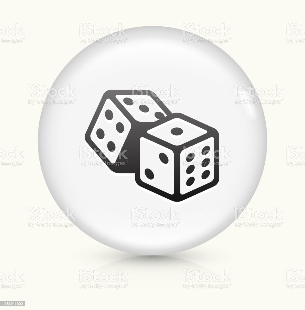 Dice icon on white round vector button vector art illustration