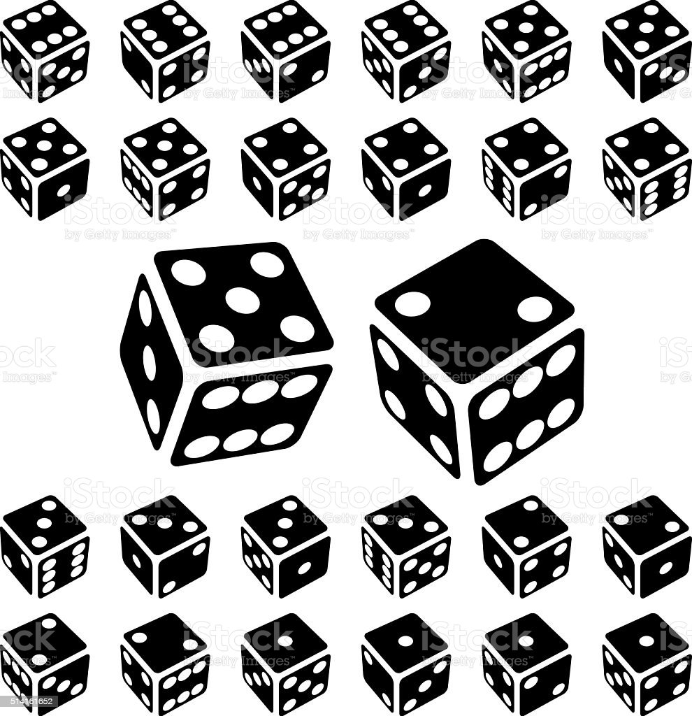 Dice Icon Set vector art illustration