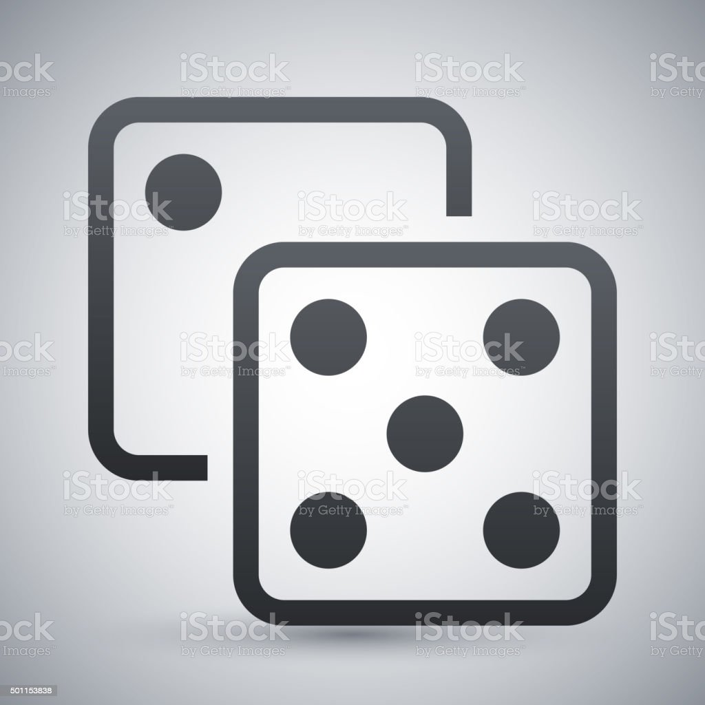 Dice icon, stock vector vector art illustration